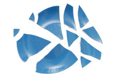 Blue broken plate Royalty Free Stock Photography