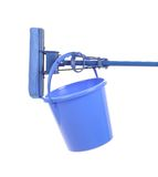 Blue broom and plastic basket. Royalty Free Stock Photos