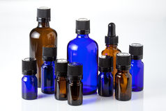 Blue and brown bottles Stock Photo