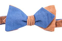 Blue and brown bow tie isolated. On white background Royalty Free Stock Images