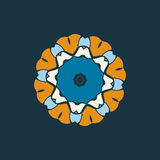 Blue and brown color mandala ornament.Decorative ornamental colouring anti-stress therapy pattern.Fabric design.Yoga Stock Photography