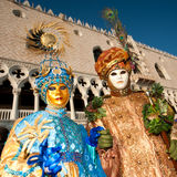 Blue and brown couple venice mask in venice Royalty Free Stock Image