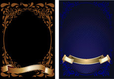 Blue, Brown And Gold Ornate Banner. Stock Photo