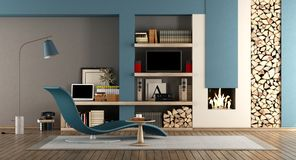Blue and brown living room with fireplace. Chaise lounge and tv set - 3d rendering Royalty Free Stock Photos