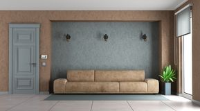 Blue and brown living room Royalty Free Stock Photos