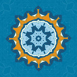Blue and brown mandala ornament over symmetry seamless background. Decorative round ornament for colouring anti-stress. Therapy. Fabric design elements. Yoga Royalty Free Stock Images