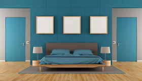 Blue and brown modern bedroom Stock Image