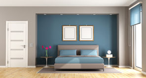 Blue and brown modern bedroom Royalty Free Stock Image