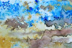 Blue Brown and Ochre Watercolor 1. Beautiful shades of blue, brown and Ochre macro watercolor textures, great for backgrounds, layers and textures Stock Image