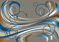 Blue and brown waves, and arrows on a dark gray ba. Blue and brown waves and arrow with the decor of beads on a dark gray background. Banner.Background royalty free illustration