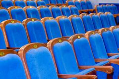 Blue brown wooden chairs in the auditorium. Without people Stock Image