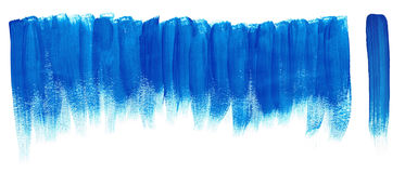 Blue brush Paint strokes. BLUE brush strokes on isolated white background Royalty Free Stock Image