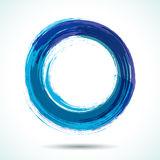 Blue brush painted watercolor circle Stock Photos