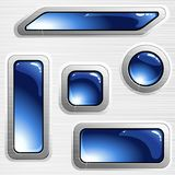 Blue brushed steel banners and buttons stock illustration