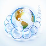Blue bubbled Earth America stock illustration