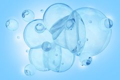 Blue Bubbles. Cool Blue Bubbles Backlite - Baby Blue Air Bubbles Background. 3D Render Illustration Stock Photo