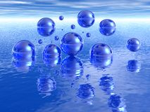 Blue bubbles. Floating over water Stock Photography