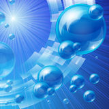 Blue bubbles background Stock Photos