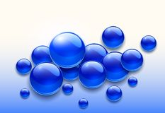 Blue bubbles background. 3d vector illustration Stock Photography