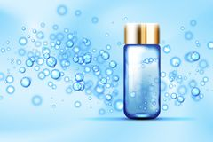 Blue bubbles bottle on silk background. Blue bubbles and parfume glass bottle on abstract background. Suitable for beverages, cosmetics, healthcare concepts Stock Images