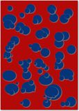 Blue Bubbles. Dark blue bubbles of various sizes on red background royalty free stock images