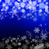 Blue Bubbles Snowflakes Background Stock Photos