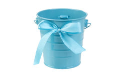 Blue bucket with bow Stock Photo