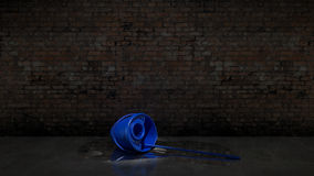 Blue bucket with cleaning mop Royalty Free Stock Photography