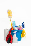 Blue bucket with detergent Royalty Free Stock Image