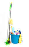 Blue bucket with detergent Stock Photography