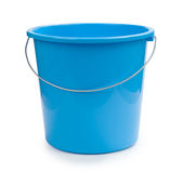 Blue bucket plastic isolated on white Stock Photography