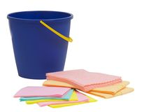 Blue bucket and rag on white background Royalty Free Stock Photos