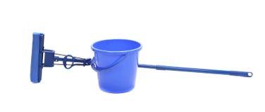 Blue bucket with sponge mop. Stock Image