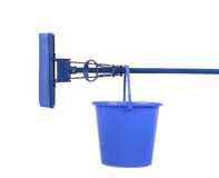 Blue bucket with sponge mop. Royalty Free Stock Images