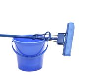 Blue bucket with sponge mop. Royalty Free Stock Photo