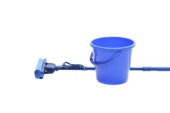 Blue bucket with sponge mop. Royalty Free Stock Image