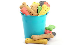 Blue bucket and stacked colored dog treats Stock Photo