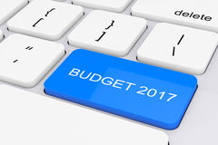 Blue Budget 2017 Key on White PC Keyboard. 3d Rendering. Blue Budget 2017 Key on White PC Keyboard extreme closeup. 3d Rendering Stock Image