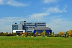 Blue building in autumn Stock Photos