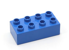 Blue building block. On white background Stock Photos
