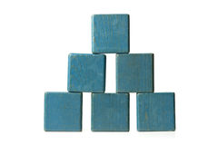 Blue building blocks on white background Stock Images