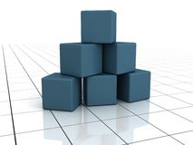 Blue Building blocks on white surface. 3d Stock Images