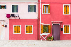 Blue building facade in Burano, Italy Stock Photography