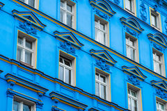 Blue building facade , restored facade in Berlin. Blue building facade - restored facade in Berlin royalty free stock photography