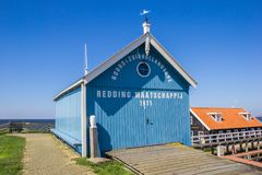 Blue building of the rescue organisation of Hindeloopen. Holland Royalty Free Stock Photo