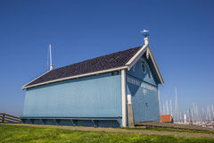 Blue building of the rescue organisation of Hindeloopen. Netherlands Stock Photo