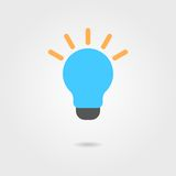Blue bulb icon with shadow Stock Image