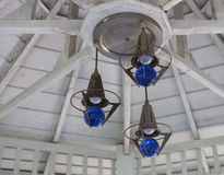 Blue bulb lamp. Design on white wood ceiling Stock Image