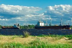 Blue bulk carrier. Moving in clear summer day royalty free stock images
