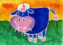 Blue bull. Image of my artwork with a blue bull on a orange background Royalty Free Stock Images